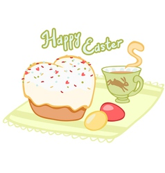 Easter tea with cupcake and painted eggs vector image