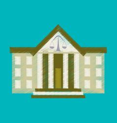 Flat shading style icon courthouse vector