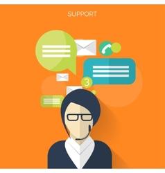 Flat support service background temwork concept vector