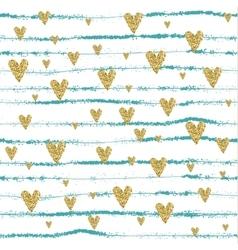 Gold glittering heart seamless pattern vector image