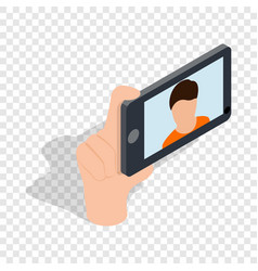 guy taking selfie photo on smartphone isometric vector image