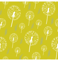 Hand drawn pattern of dandelion on a yellow vector image vector image