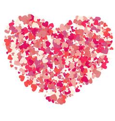 Heart shape pink confetti splash vector