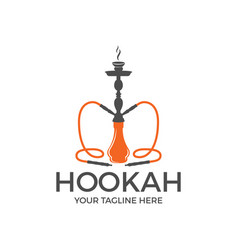 Hookah logo design label badge vintage shisha vector