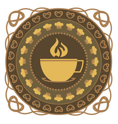 Hot drink and cake round ornament vector