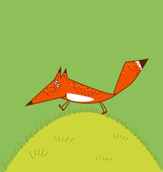 Jolly fox runs across the grass amusing vector