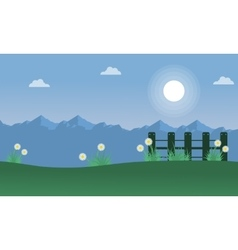 Landscape of spring on mountain backgrounds vector
