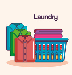 laundry service clean pile cloth basket shirts vector image