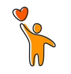 love heart person icon vector image vector image