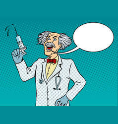 Mad doctor with syringe pop art vector
