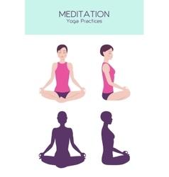 Meditating woman set vector