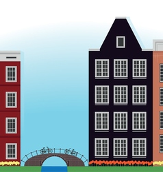 Mill building and bridge in the netherlands vector
