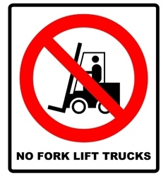 No forklift truck sign red prohibited icon vector