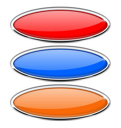 oval glass buttons with metal frame colored set vector image