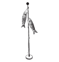 paper koi birthday pole the fish banners are vector image