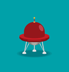 spaceship flat isolated on color background vector image