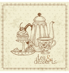 Tea and Desserts vector image