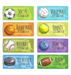 Team sport banners with balls vector