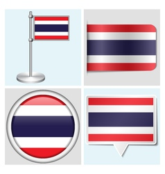Thailand flag - sticker button label flagstaff vector image vector image