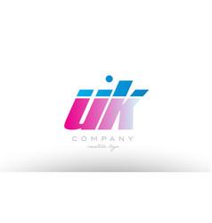 uk u k alphabet letter combination pink blue bold vector image vector image