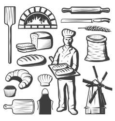 Vintage bakery elements set vector