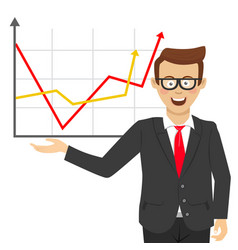 Young businessman showing positive line charts vector