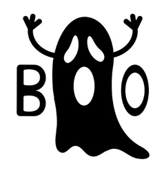 Happy Halloween Funny black flying ghost with vector image