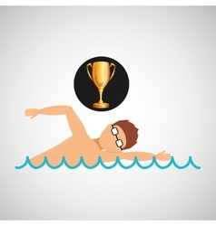 swimming man trophy sport design vector image