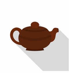 brown chinese teapot icon flat style vector image