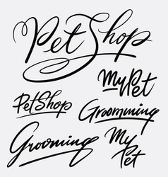 My pet and grooming hand written typography vector