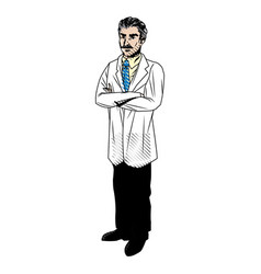 Doctor with mustache in uniform professional vector