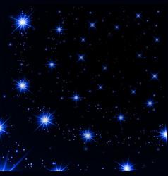 Blue light stars on black background vector