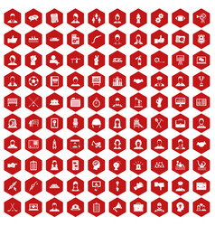 100 team work icons hexagon red vector image