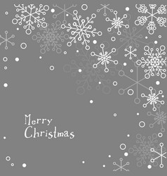 retro simple christmas card with white snowflakes vector image