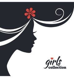 Beautiful woman silhouette with flowers vector