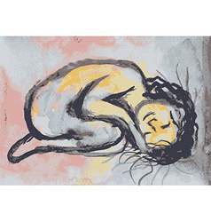 Calm sleeping girl vector image