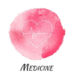 Medicine heart pulse watercolor concept vector