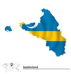 Map of Szeklerland with flag vector image