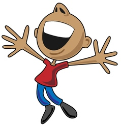 Happy cartoon man jumping for joy vector