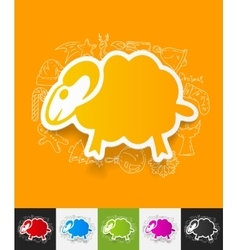 Sheep paper sticker with hand drawn elements vector
