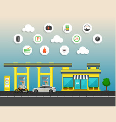 Gas station with store car and motorcycle in city vector
