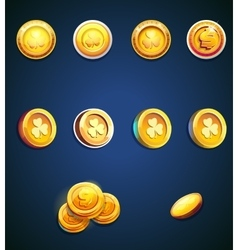 Set of cartoon coins vector