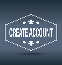 Create account hexagonal white vintage retro style vector