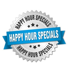 Happy hour specials 3d silver badge with blue vector