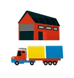 Storehouse and long distance cargo truck vector