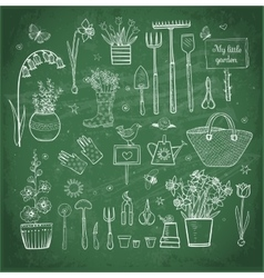 Big set of hand-drawn sketch garden elements vector