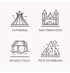 Brazilian culture linear icons set vector