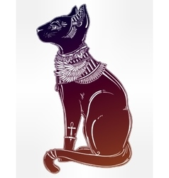 a black Egyptian cat vector image vector image