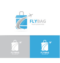 bag and plane logo combination baggage vector image vector image