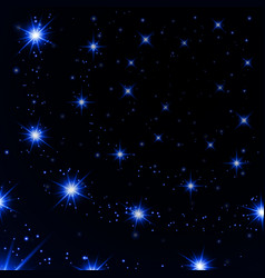 blue light stars on black background vector image